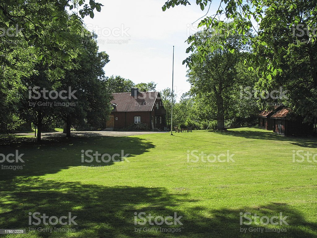 Farm in the Swedish countryside stock photo