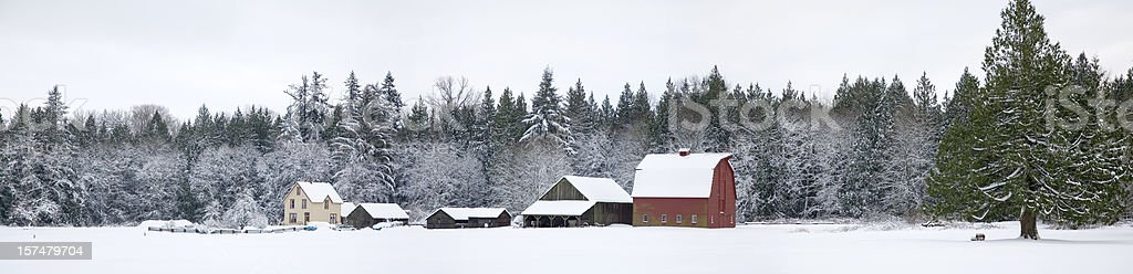 Farm In the Winter Panorama royalty-free stock photo