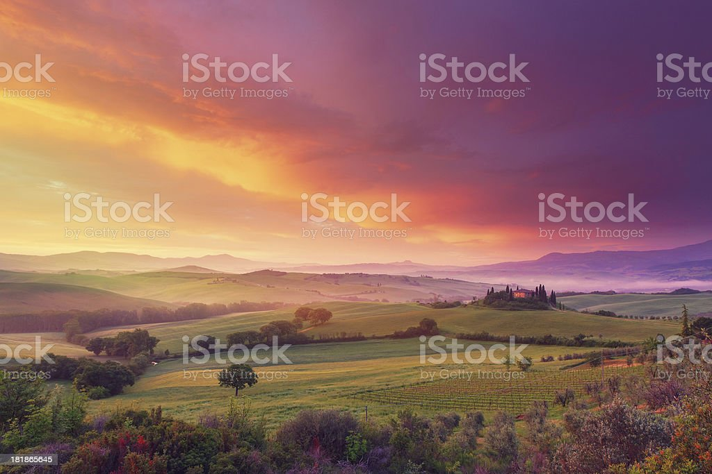 Farm in Tuscany at dawn stock photo