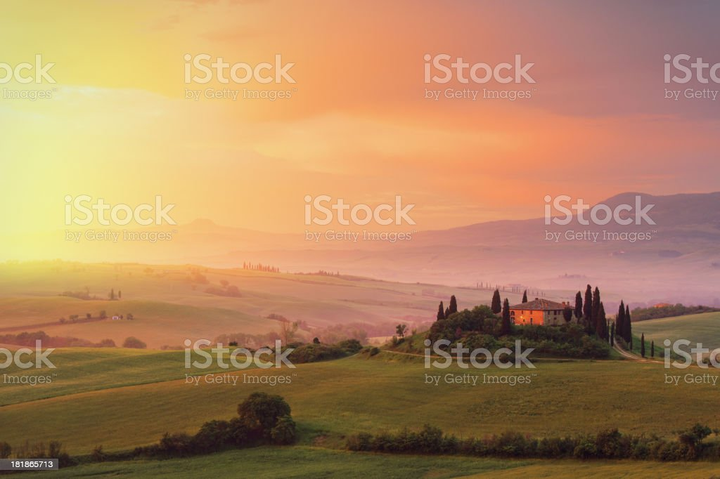 Farm in Tuscany at dawn stock photo