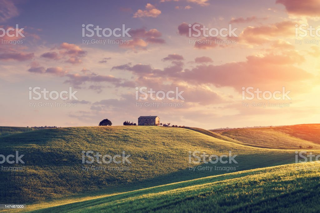 Farm in Tuscany at sunset stock photo