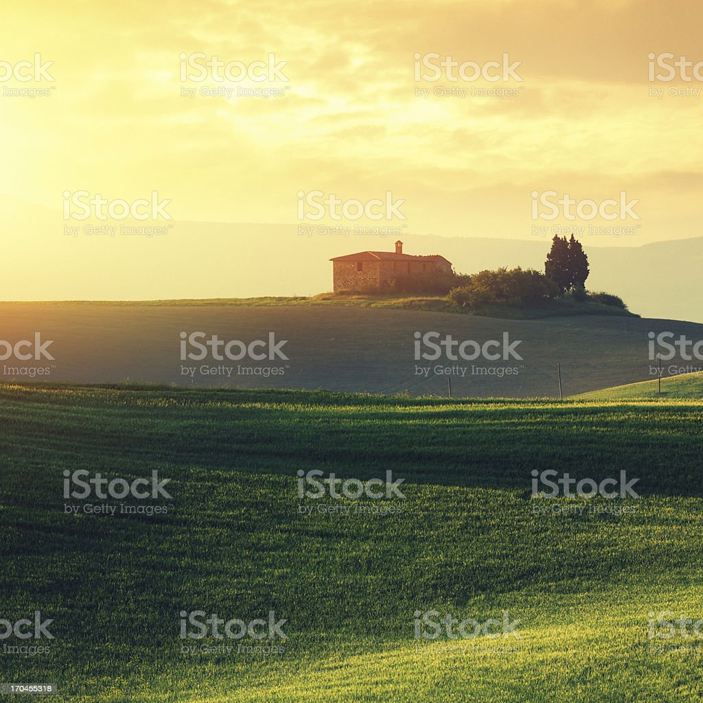 Farm in Tuscany at sunset royalty-free stock photo