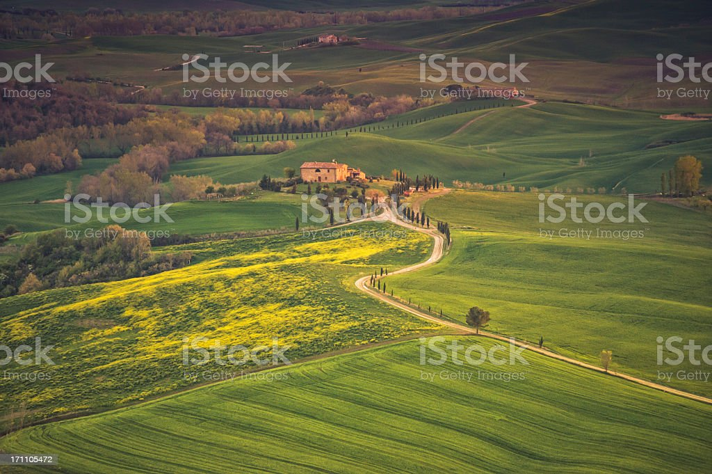 Farm in Val d'Orcia after sunset royalty-free stock photo