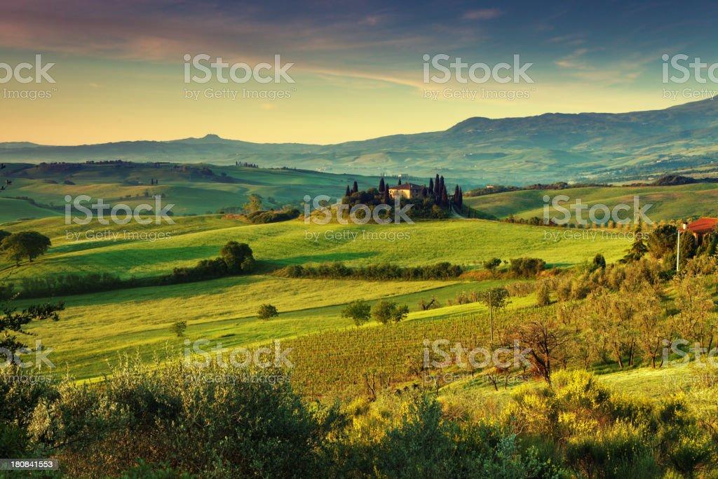 Farm in Val d'Orcia, Tuscany royalty-free stock photo
