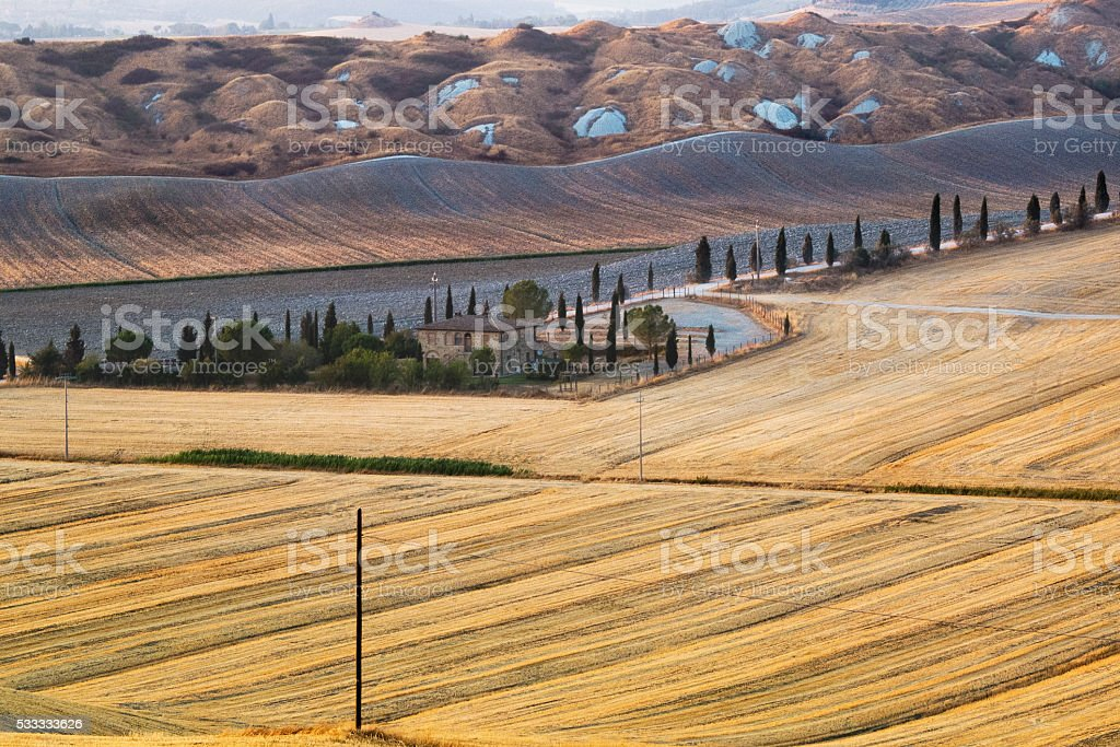 Farm in Val d'Orcia Tuscany stock photo