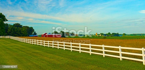 Farm Land with Red Barn and White fence-Rolling hills of Northern Indiana-Fulton County