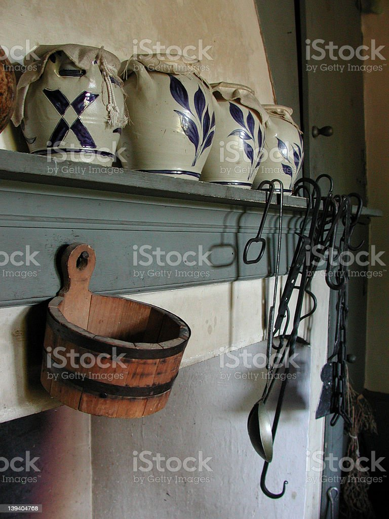 Farm Life: Fireplace Mantle stock photo
