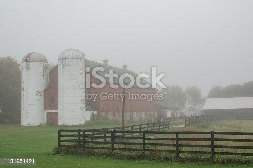 farm on a foggy fall morning.