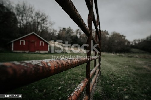 Outdoor picture of weathered fence and red shed