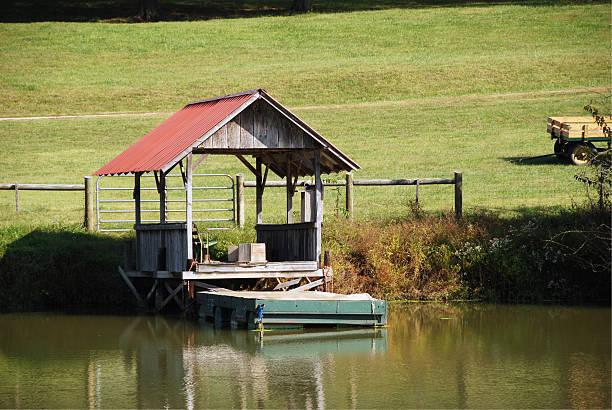 Farm Pond Dock stok fotoğrafı