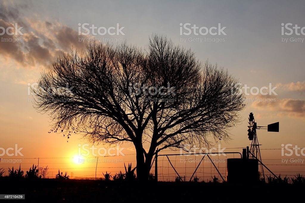 Farm scene silhouettes - windmill, dam, fence, gate and tree stock photo
