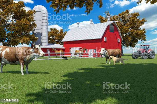 Photo of Farm scene with red barn and farm animals