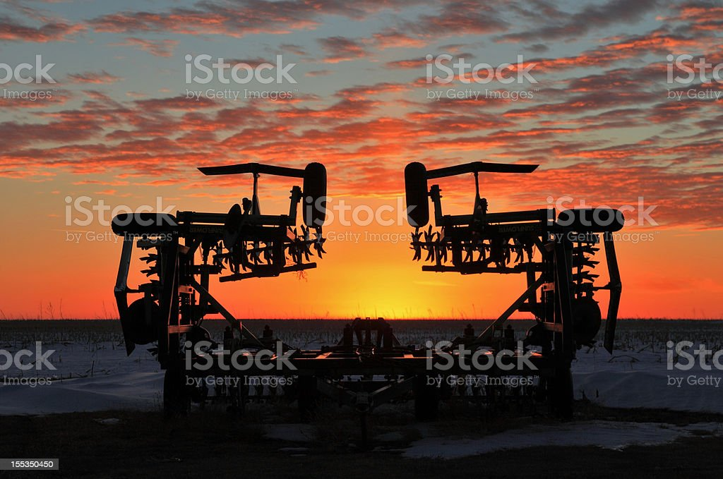 Farm sunset plow royalty-free stock photo