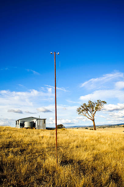 Farm Telephone Power Pole Stock Photo & More Pictures of
