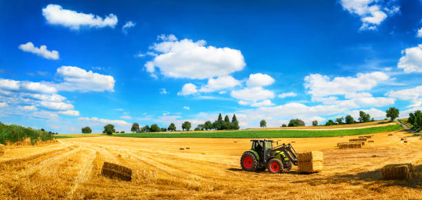 Farm tractor working on field, idyllic panorama stock photo