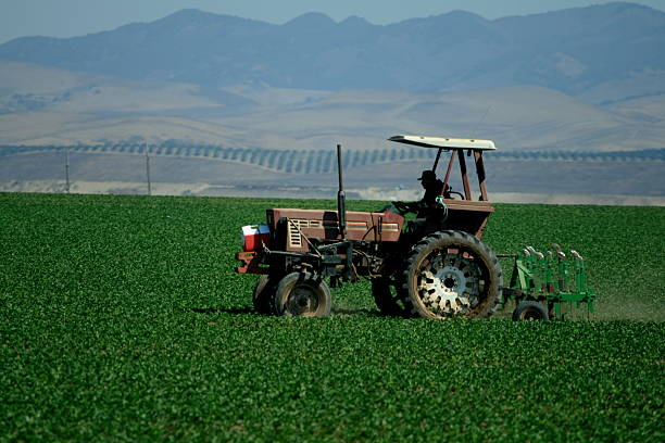 farm vehicle in a field - central coast california stock photos and pictures