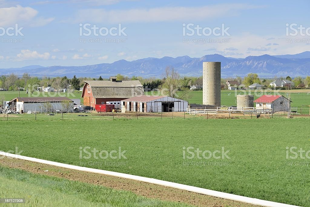 A farm with a silo and a barn in the countryside royalty-free stock photo