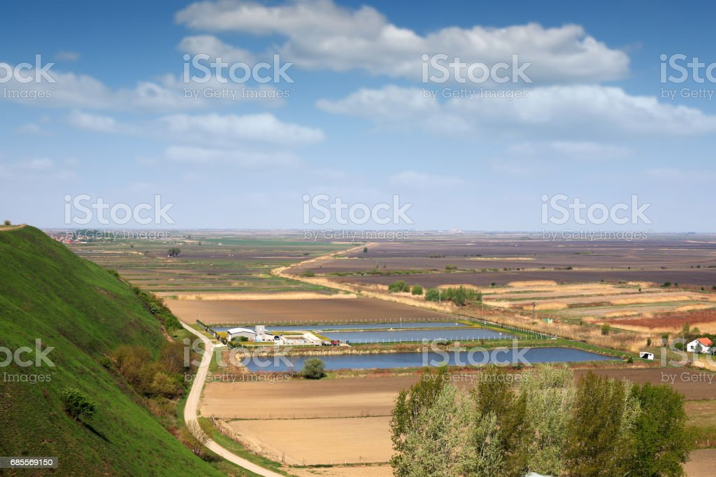 farm with fish pond landscape royalty-free 스톡 사진