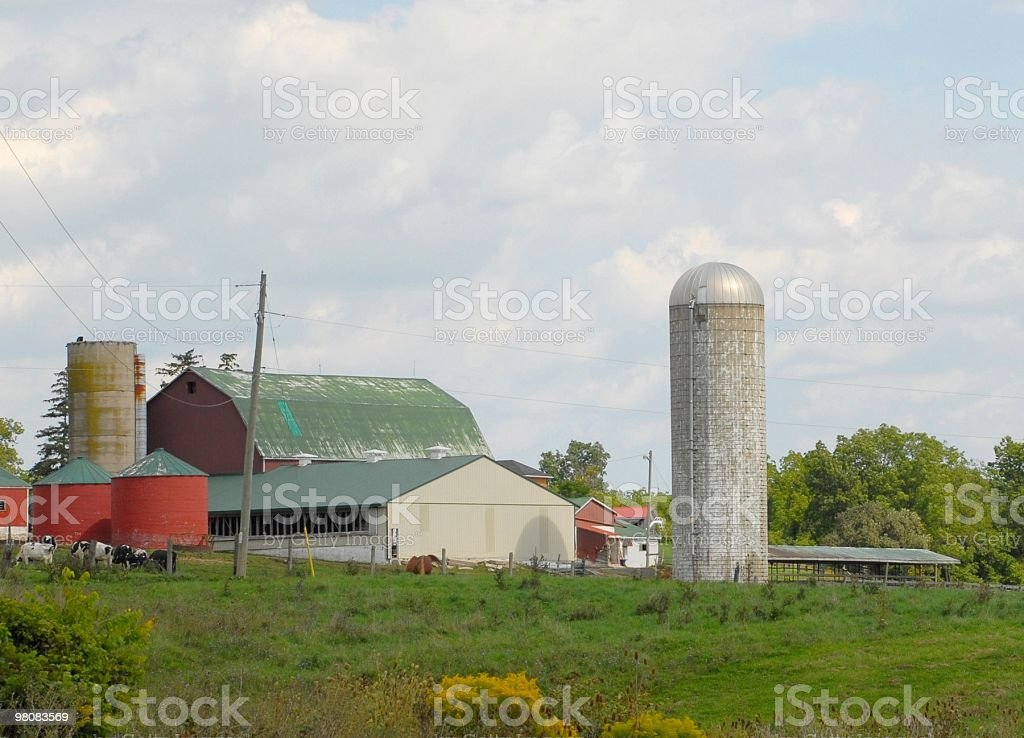 Farm with silo royalty-free stock photo