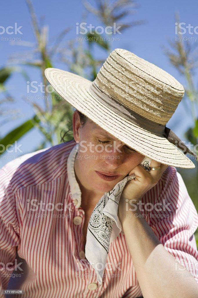 Farm Woman Suffering From Heat Stroke stock photo