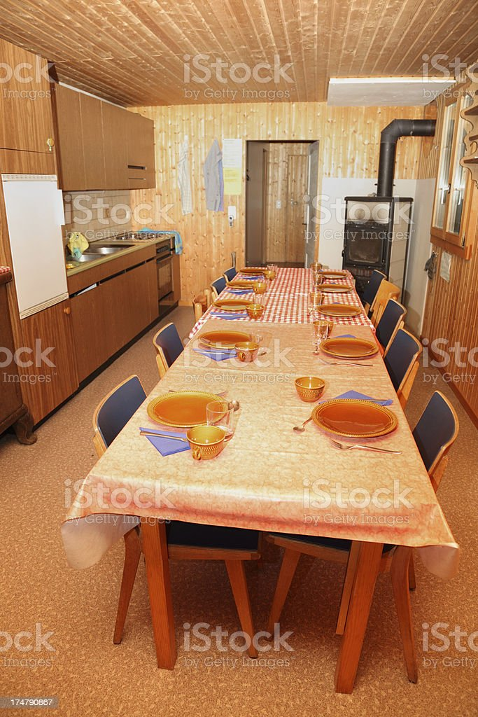 Farm Workers Dining Room With Table And Place Settings Royalty Free Stock  Photo