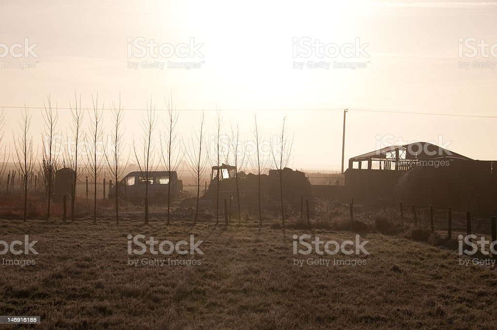 Farm yard on a misty morning royalty-free stock photo