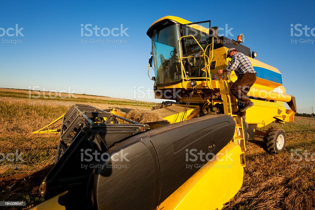 Farmer and Combine Harvester royalty-free stock photo