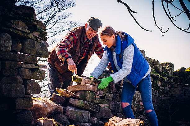 Farmer and Daughter Repairing an Old Stone Wall stock photo