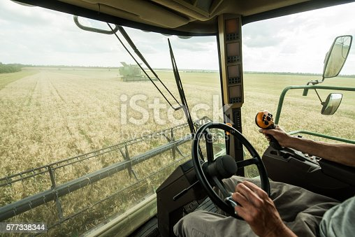 Farmer at steering wheel of сombine harvester on a wheat field
