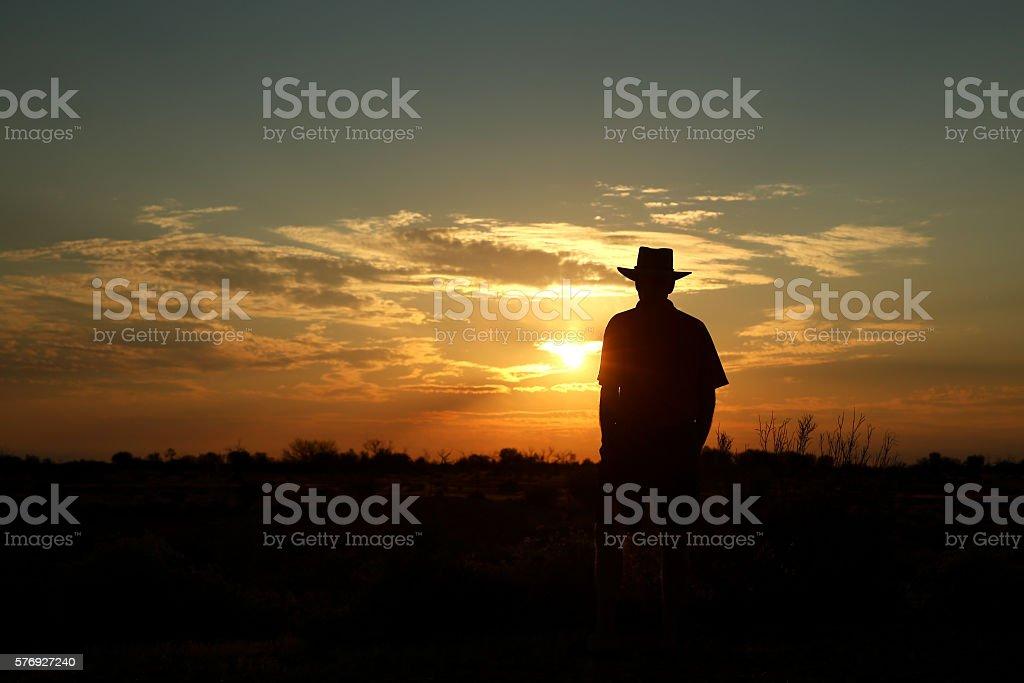 Farmer bei Sonnenuntergang – Foto