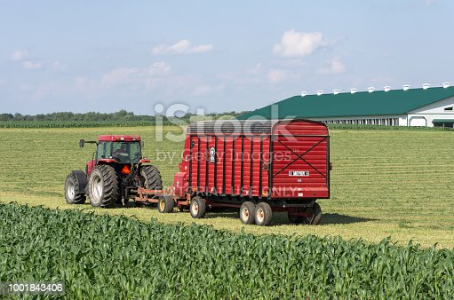 A red farm tractor with a full load of hay silage in a summer farm field. Barns slightly visible in background.