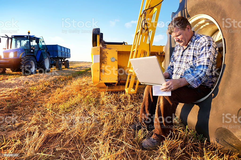 Farmer counts profits on a computer royalty-free stock photo