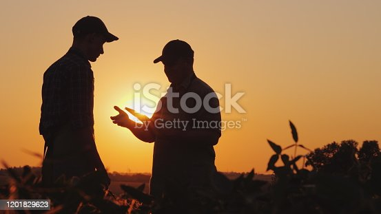 istock A farmer extends his hand for a handshake to a young worker. Standing on a field at sunset - agribusiness concept 1201829623
