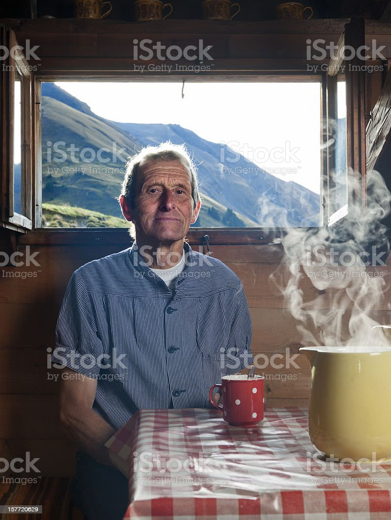 farmer having coffee break royalty-free stock photo