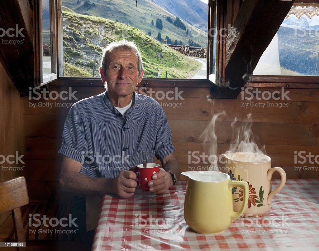 farmer having coffee break stock photo