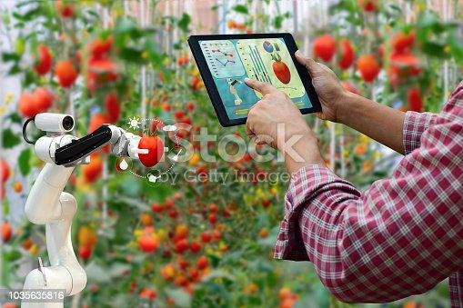 istock Farmer holding a tablet smart arm robot harvest work agricultural machinery technology 1035635816