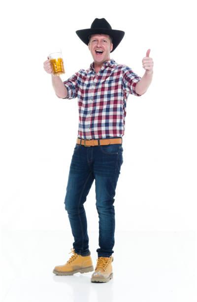 Granjero que cerveza y ser feliz - foto de stock