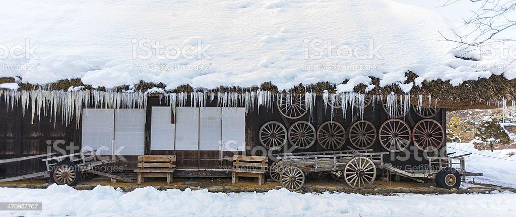 farmer house in winter stock photo