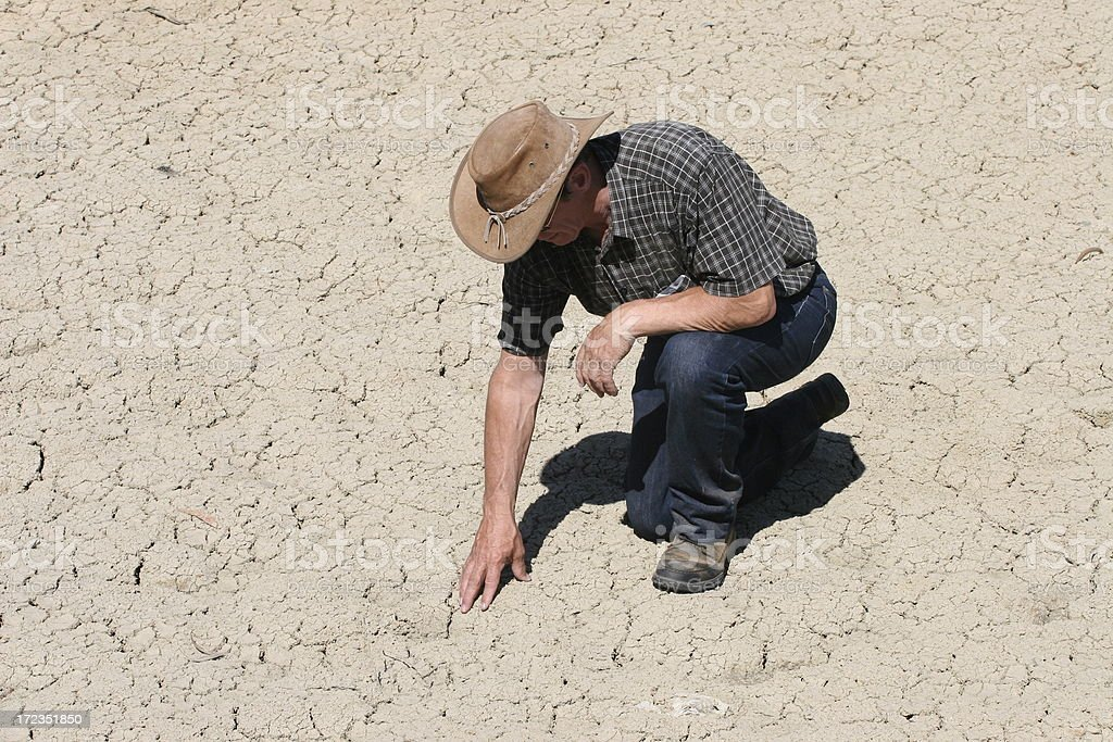 Farmer in drought royalty-free stock photo