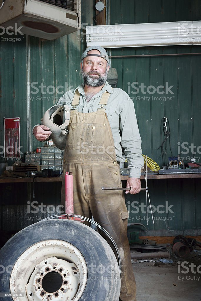 Farmer in his workshop stock photo