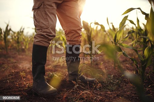 1094815168 istock photo Farmer in rubber boots 990860638