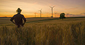 istock Farmer in straw hat in wheat field at sunset 1216403193