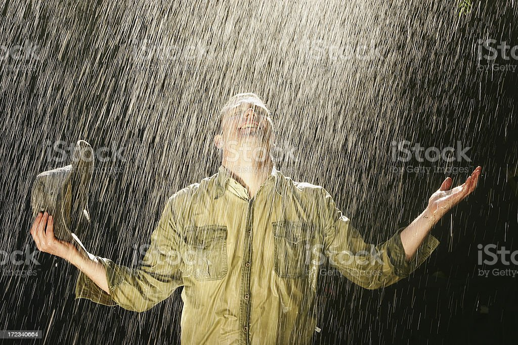 Farmer in the Rain royalty-free stock photo