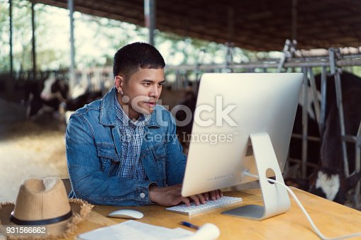 istock Farmer is using the computer for farm information. To sell milk online 931566662