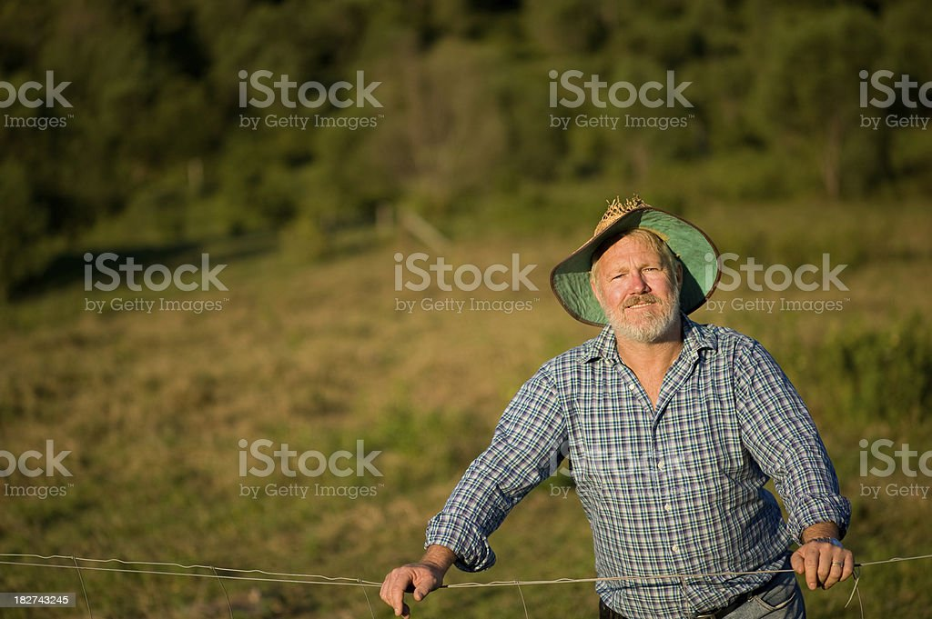 Farmer Leaning on Fence stock photo