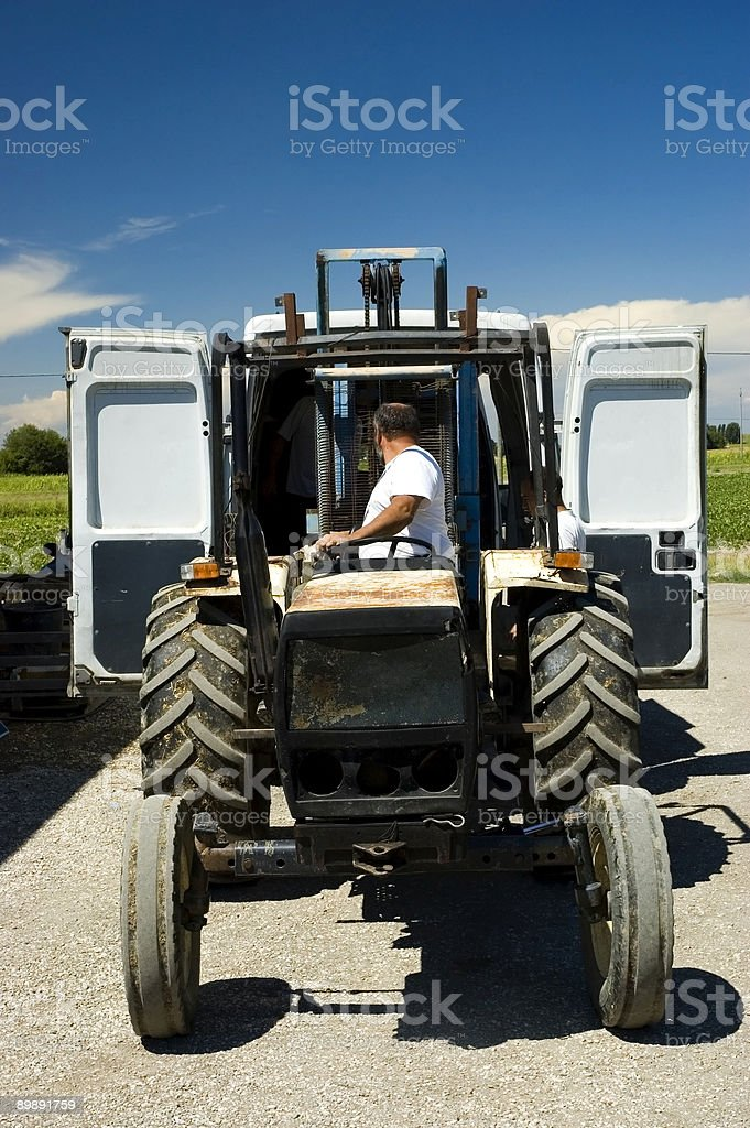 Farmer loading harvest on a van royalty-free stock photo