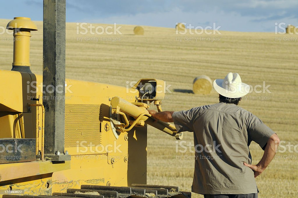 Farmer Looking at Field after Harvesting royalty-free stock photo