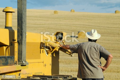 1094815168 istock photo Farmer Looking at Field after Harvesting 172993622