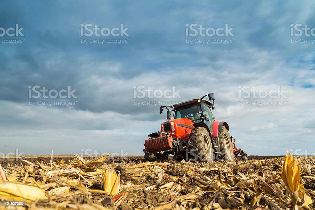 Farmer plowing with red tractor stock photo