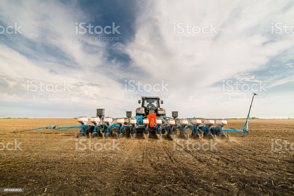 Farmer seeding crops at field stock photo